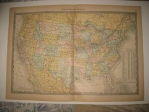 Antique 1883 United States Map Territory Texas California Railroad Florida Utah
