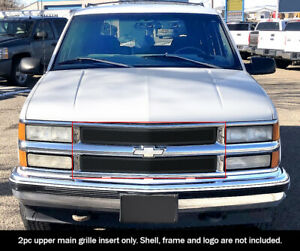 Fits 1994 1999 Chevy C K Pickup Suburban Tahoe Upper Stainless Black Mesh Grille