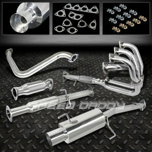 4 Muffler Tip Exhaust Catback header piping For 92 96 Honda Prelude H22 2 2l