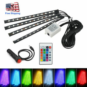 4pcs Car Interior Atmosphere Neon Lights Strip 48 Led Wireless Ir Remote Control