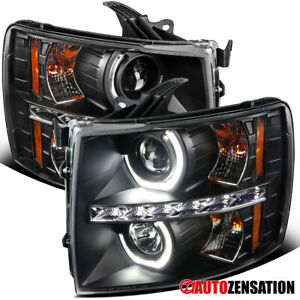 For 2007 2014 Chevy Silverado Black Led U Halo Rims Projector Headlights