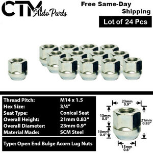 24 Pc Chrome 14x1 5 Open End Wheel Lug Nuts Fit Ford Chevy Gmc More