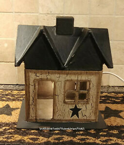 Primitive Crackle Tan Black Star Lighted Small House Country Decor