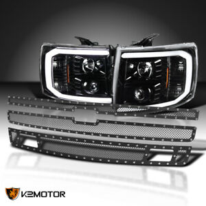 For 2007 2013 Silverado Led Drl Jet Black Projector Headlights 3pc Grille Insert