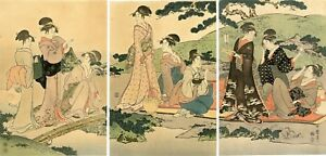 Lovely Meiji Era Utamaro Japanese Woodblock Triptych Picnic By A Stream
