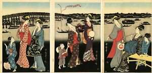 Goyo Studio Utamaro Japanese Woodblock Print Enjoying The Evening Cool