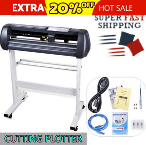 28 In Lcd Adjustable Vinyl Cutter Sign Cutting Plotter Machine With Pad Plate