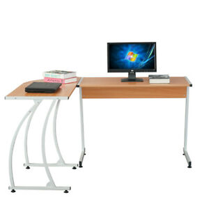 L shape Corner Computer Desk Pc Glass Laptop Table Workstation Home Wood Color