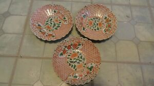 3 Antique Plates Japanese Porcelain Imari Hand Painted Old Lot 7 1 2 In Wide