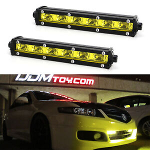 18w Yellow Cree Led Daytime Running Light Kit W Relay Wire Harness For Car Suv