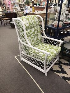 Vintage Rattan Probably Ficks Reed Wingback Chair