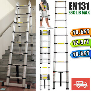 En131 Telescopic Extension Aluminum Ladder Folding Multi Purpose 10 5 12 5 16 5