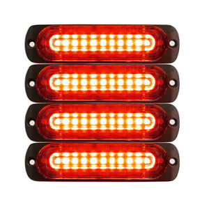 4pcs 10 Led Strobe Lights Emergency Flashing Warning Beacon Red Red 12v 24v