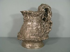 Pitcher Art Nouveau Style Bronze Silver Pattern Nymphs And Satyr Signed Ebrard