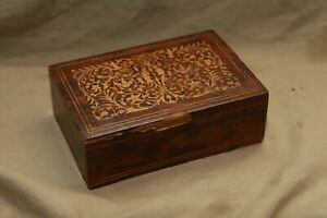 Antique Inlaid Wood Storage Box Losses To Veneer For Parts Repair