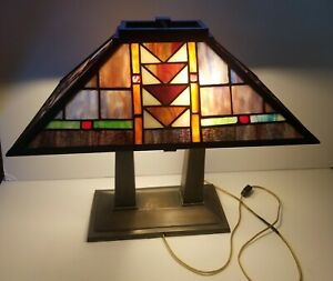 Arts Crafts Bronze And Stained Glass Shade Library Table Lamp
