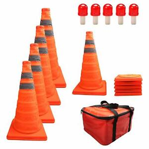 Collapsible Traffic Cones With Led Lights Reflective Safety Cones
