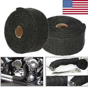2pcs 5m Exhaust Heat Wrap Pipe Heat Insulated Wrap For Car Motorcycle Usa K9b6