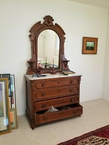 Victorian Marble Top Dresser With Mirror
