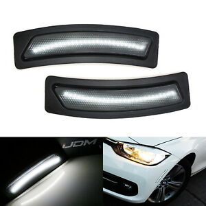 Glossy Black White Led Strip Bumper Side Marker Lights For 16 19 Bmw 3 4 Series