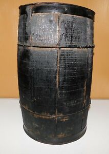 Primitive Wooden Wood Am Steel Wire Co Nail Keg Barrel Rustic Country Barn