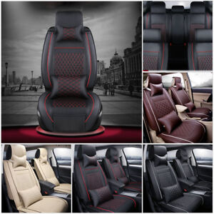 New Pu Leather Car 5 seat Suv Seat Cover Cushions Front rear W pillows Set Usa