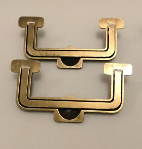 Rare Vintage Henredon Artefacts Dresser Brass Drawer Pulls Recessed Set Of 2
