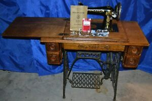Singer 66 Lotus Treadle Sewing Machine Serviced A Beauty Sews Nice 04 27 1906
