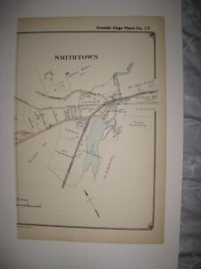 Vintage Antique 1915 Smithtown New York Handcolored Map Superb Detailed Fine Nr