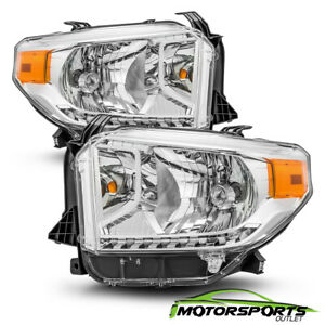 For 2014 2018 Toyota Tundra Chrome Replacement Crystal Headlights Pair