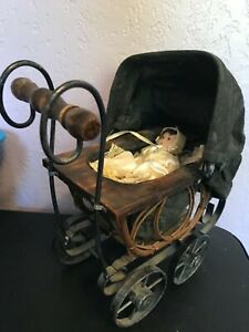 Antique Baby Doll Stroller Vintage Wooden Carriage Buggy Small Doll Buggy W Doll
