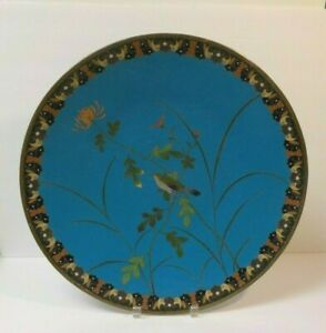 19th C Chinese Cloisonne Enamel 18 Charger Bird Flowers