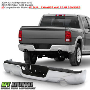 2009 2018 Dodge Ram 1500 Dual Exhaust W O Sensor Holes Chrome Rear Step Bumper