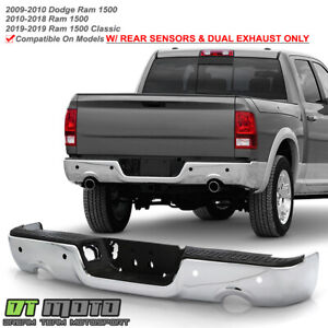 2009 2018 Dodge Ram 1500 W Dual Exhaust Sensor Holes Chrome Rear Step Bumper