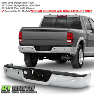2009 2018 Dodge Ram 1500 Sensor Holes W O Dual Exhaust Chrome Rear Step Bumper