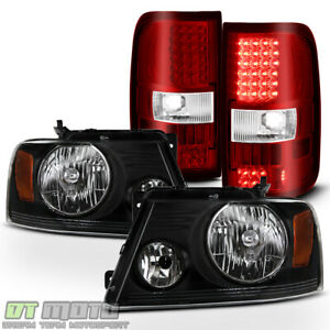 2004 2008 Ford F150 Lobo Black Headlights red Smd Led Tail Lights Brake Lamps