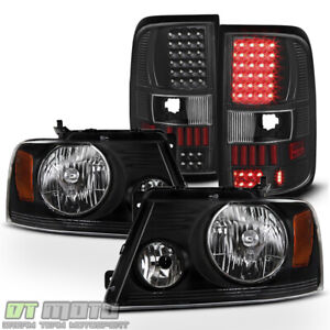 Black 2004 2008 Ford F150 Lobo Headlights styleside Bed Led Tail Lights Lamps