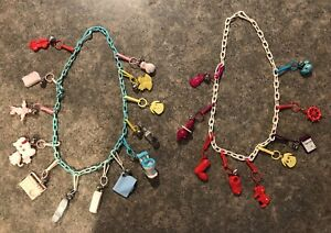 1980s Bell Charm Necklaces! Plastic 80s Charms!  Two Necklaces Vintage Coca Cola