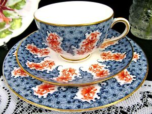 Royal Worcester Tea Cup And Saucer Trio Blue Floral Older Chintz Band Teacup