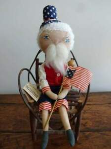 Primitive Uncle Sam Doll Folk Art Americana Joe Spencer S Gathered Traditions