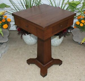 Rotating Game Table Antique Solid Walnut Wood Mission 4 Drawers W Drink Holders