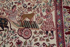 Vintage Collectible Animal Pictorial Agra Oriental Area Rug Hand Made Wool 4 X8