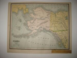 Vintage Antique 1887 Alaska Map Northwest Territory Alaska Peninsula Forts Rare