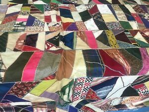 Antique Victorian Crazy Quilt Top Handmade Stitched Embroidered 79 X 62