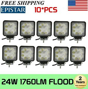 10x 24w Square Led Work Light Flood Beam Offroad Driving Light Fog Light Atv Suv
