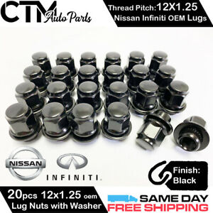 20pc Black Nissan Infiniti 12x1 25 Oem Factory Style Replacement Mag Lug Nuts