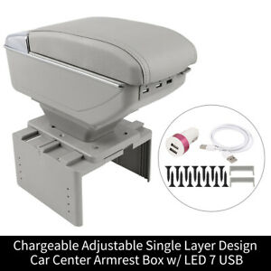 Universal Single Layer Adjustable Chargeable Car Central Armrest Box Gray
