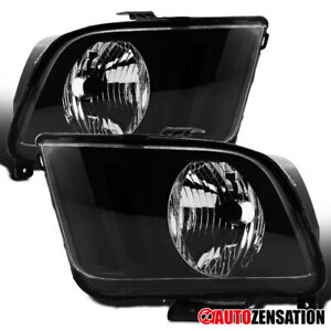 For 2005 2009 Ford Mustang Gt V6 V8 Black Headlights Lamp Replacement Left right