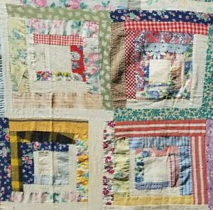 Vintage 1930 Hand Stitched Pieced Log Cabin Quilt Top Feed Sack Fabric 92 X 70