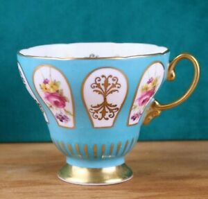 Foley Bone China Footed Tea Cup Turquoise Floral Panels Gold Filigree England